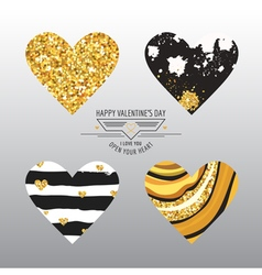 Valentines day hearts - grunge and glitter style vector