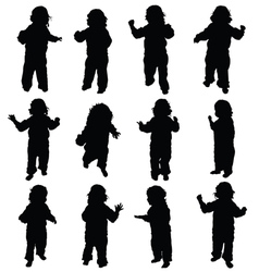 Child standing silhouette vector