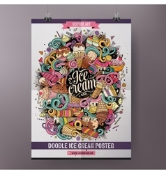 Cartoon line art doodles ice cream poster vector