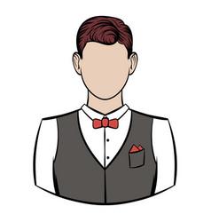 A man in white shirt black waistcoat vector