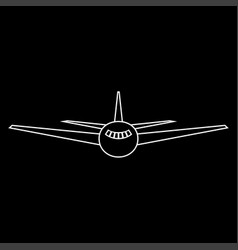 Airplane the white path icon vector