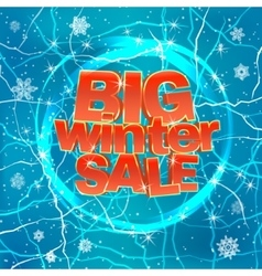 Big winter sale on blue background vector