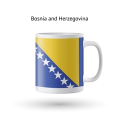 Bosnia and herzegovina flag souvenir mug on white vector