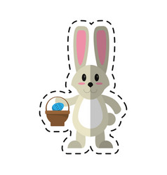 cartoon easter bunny with basket egg vector image