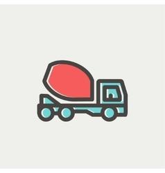 Concrete mixer truck thin line icon vector image vector image