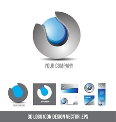 Corporate business 3d logo sphere grey blue design vector