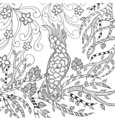 Cute cockatoo coloring page vector
