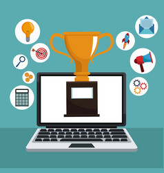 Digital marketing laptop trophy icons vector