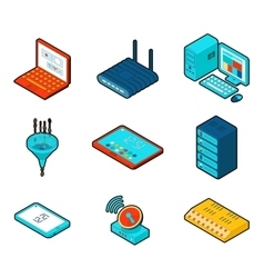 Elements of cloud computing network vector image vector image