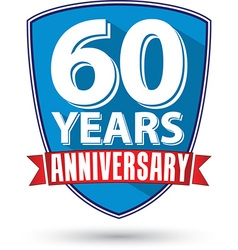 Flat design 60 years anniversary label with red vector