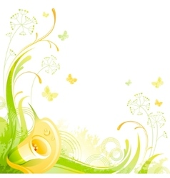Floral summer background with yellow calla flower vector