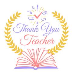 Greeting thank you teacher vector