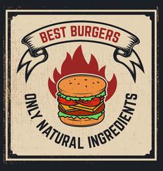 Grilled burger poster hamburger on grunge vector