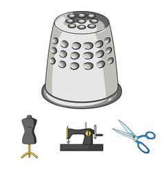 Manual sewing machine scissors maniken thimble vector