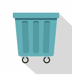 Outdoor blue trash can icon flat style vector