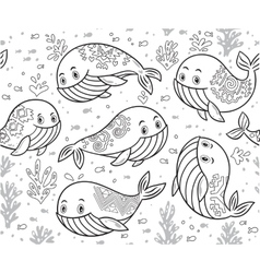 Outline hand drawn seamless pattern with cute vector