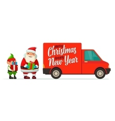 Red delivery van with shadow and cardboard boxes vector