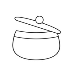 Saucepan pot chicken food outline vector