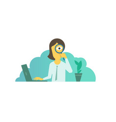 search with magnifier in hand businesswoman vector image vector image