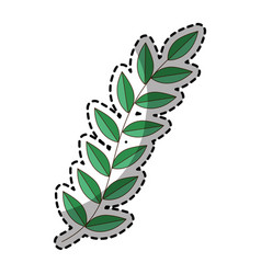 sticker of green silhouette oval leaves with vector image