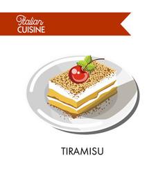 tiramisu cake italian cuisine traditional vector image