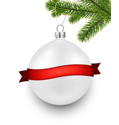 White background with christmas ball vector