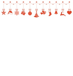 Border of hanging Christmas ornaments vector image