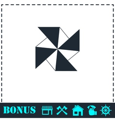 Paper windmill icon flat vector