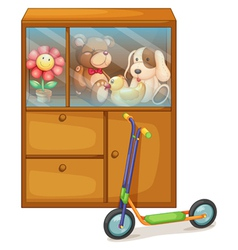 A cabinet full of toys at the back of a scooter vector