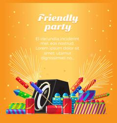 Friendly party banner fireworks for festivals vector