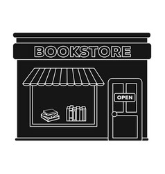 Bookstore icon in black style isolated on white vector