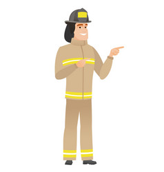 Young caucasian firefighter pointing to the side vector