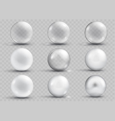 Set of transparent and opaque gray spheres vector