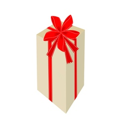 A tall gift box with red ribbon vector