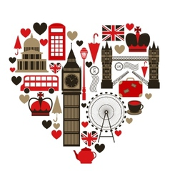 Love London heart symbol vector image