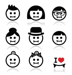 Vampires - man woman baby faces halloween icons vector