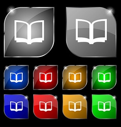 Open book icon sign set of ten colorful buttons vector