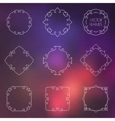 Set of various outline frames and badges on vector