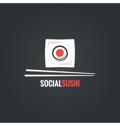 sushi roll social concept design background vector image