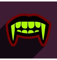 Flat with shadow icon vampire teeth a bright vector