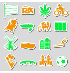 Netherlands country theme color stickers set eps10 vector