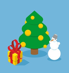Christmas tree and snowman gift box holiday tree vector