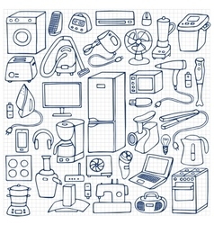 Household appliances hand drawn set vector