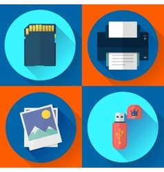 Set computer icons of photo print vector
