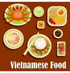 Healthy dishes flat icons of vietnamese cuisine vector