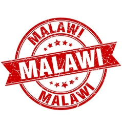 Malawi red round grunge vintage ribbon stamp vector