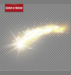 A bright comet with large dust falling star glow vector