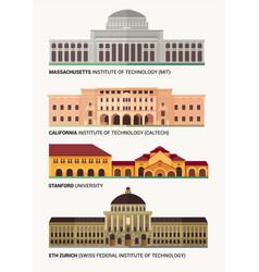 Best national universities flat buildings of vector