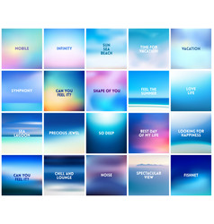 big set of 20 square blurred nature blue vector image vector image
