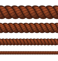 Brown rope in four sizes vector